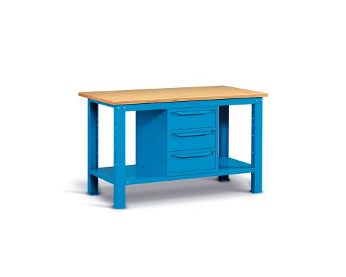 Workbench 150cm with 3 drawers and shelf