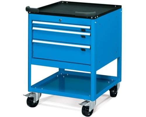 Workbench mobile cabinet with 3 drawers and a shelf