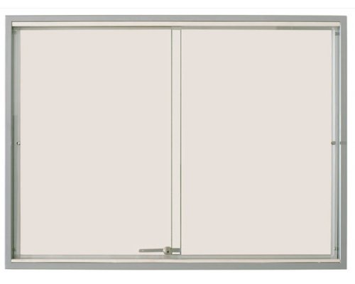 Advertising cabinet with sliding glass