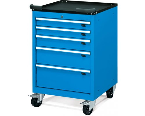 Workbench cabinet on wheels with 5 drawers