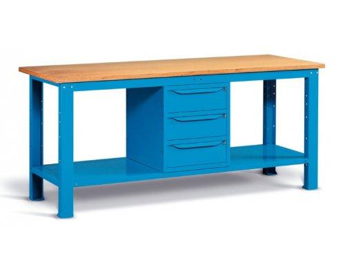Workbench 200x75 cm, with 3 drawers