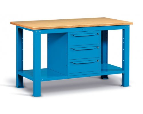 Workbench with 3 drawers, 150x75 cm