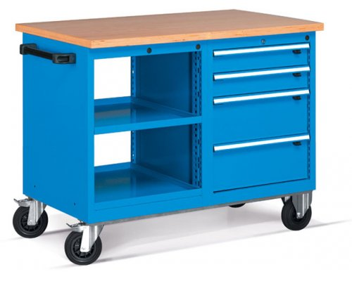 Workbench on wheels with 4 drawers and shelves